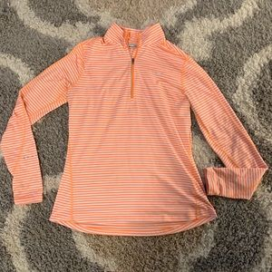 Nike Dri Fit Orange Stripes Quarter Zip Hoodie
